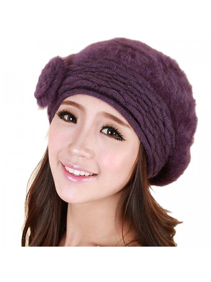 0e14cb11 Women Winter Warm Soft Beanie Protective Ear Angora Knit Beret Hat Cap  Purple - CQ129B449CR - Hats & Caps, Women's Hats & Caps, Berets #menscaps  #menshats ...