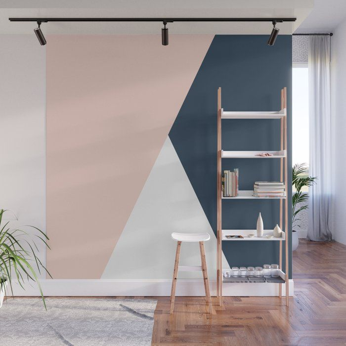 Elegant Blush Pink Navy Blue Geometric Triangles Wall Mural Wallpaper By Naughtycat 8 X 8 Feature Wall Bedroom Bedroom Wall Paint Feature Wall Living Room