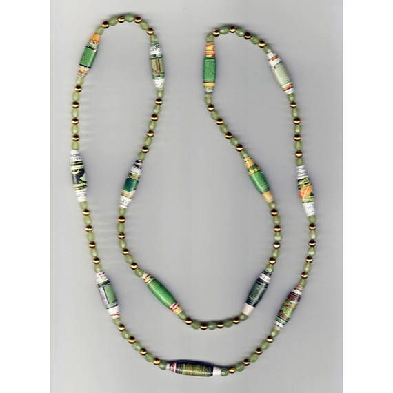 One-of-a-kind Handmade Necklace with Rolled Paper Beads round