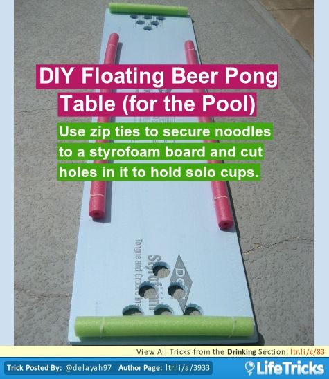 Use zip ties to secure noodles to a styrofoam board and cut holes in it to hold solo cups.