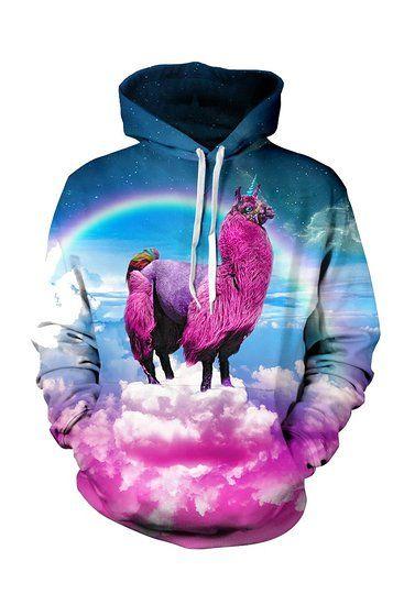 CHICOCO Unisex Realistic 3d Digital Print Pullover Hoodie Hooded Sweatshirt S-XL