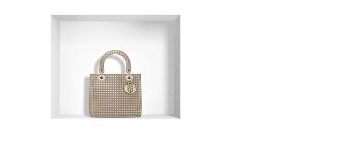 """""""lady dior"""" tasche aus kalbsleder mit metallic-mikrocannage in champagne - Dior"""
