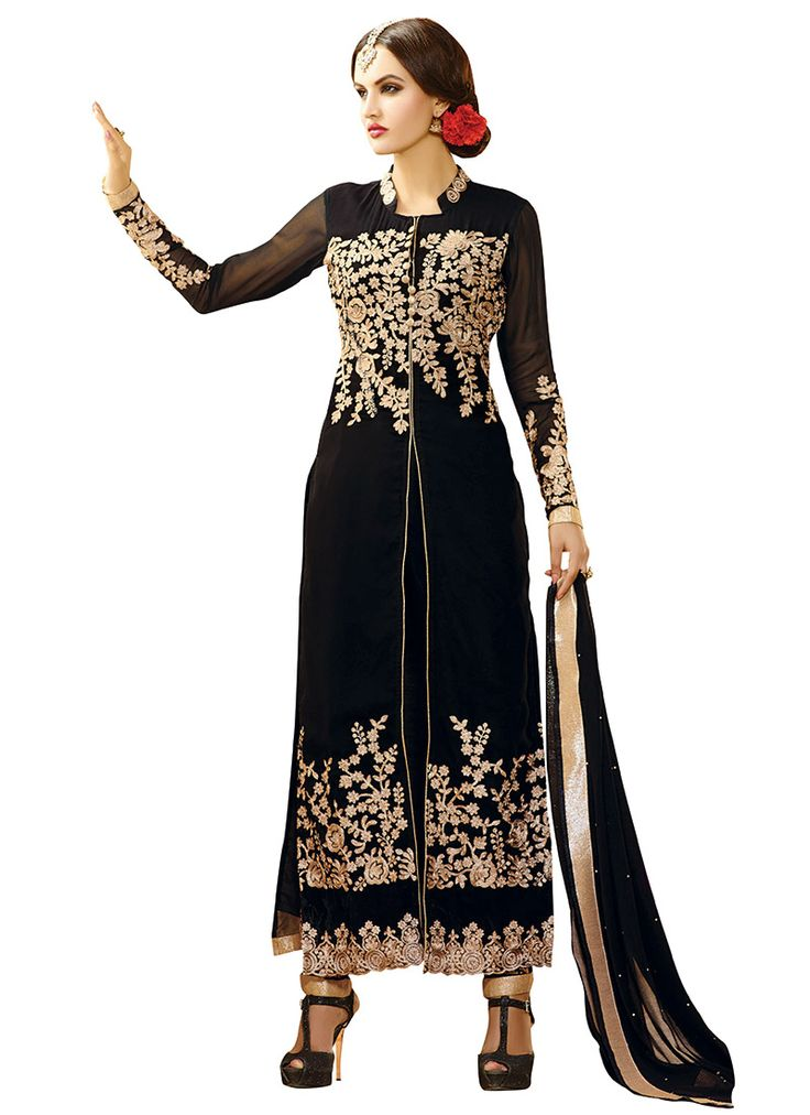 Black Georgette Double Bottom Suit