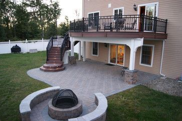 Awesome way to incorporate a paver patio with a beautiful deck.