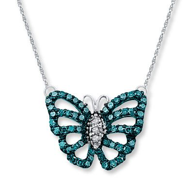 Butterfly Necklace 1/5 ct tw Blue Diamonds Sterling Silver