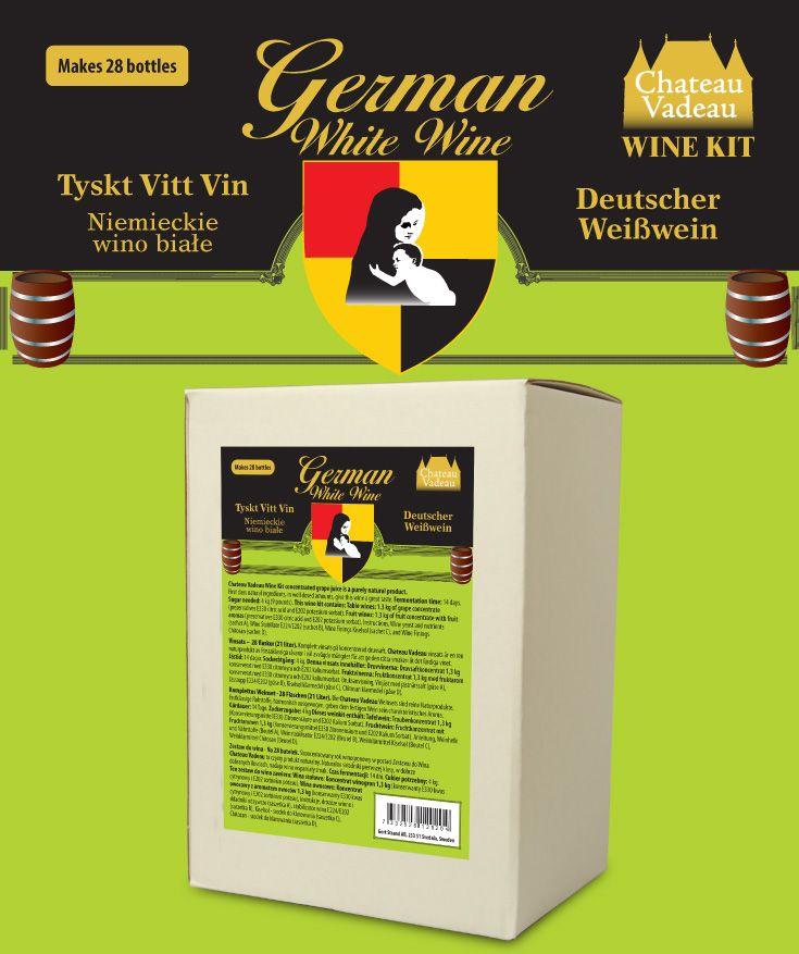 Chateau Vadeau Tyskt vitt vin vinsats Ger 21 liter - 28 flaskor a 75 cl - lättdrucket bordvin. Tillsätt vatten och 4 kg socker. Alla andra ingredienser medföljer.
