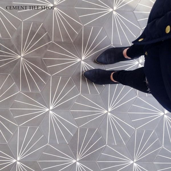 Cement Tile Encaustic Starburst Hex Natural Gray Bathroom In 2018 Tiles Flooring