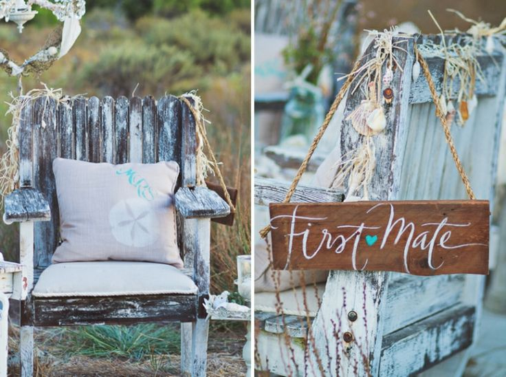 "Planning a nautical wedding? We love the idea of coordinating signs for the bride and groom's chairs - ""Captain"" and ""First Mate""."