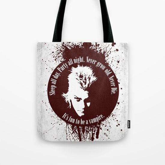 Lost Boys Tote Bag by Fimbis       vampires, blood, halloween, movies, 80s, lost boys, horror, vamp, movie tagline, never die, its fun to be a vampire, bags, shopping, school, college,