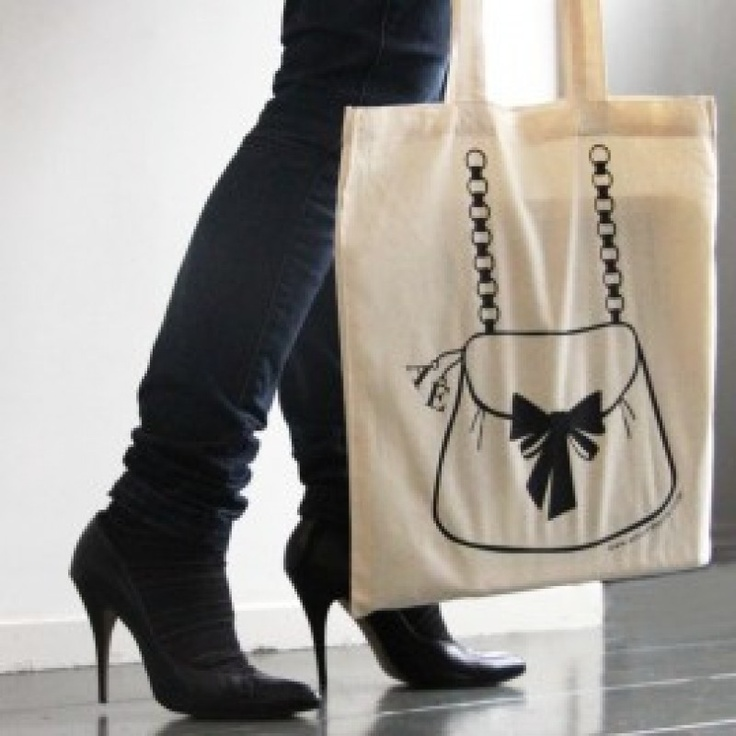Cotton tote bag, hand printed