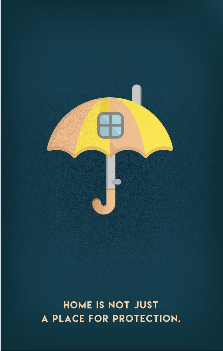 Postcard collection for HOME. #home #umbrella #protection #family #house #window #thinking #texture #gradient #postcard #collection #funny #creative #art #innovation #wanted #design #graphics #print #illustration #emchengillustration #vector #simple