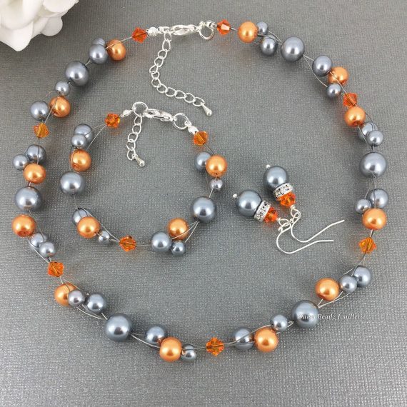 Gray and Orange Necklace Pearl Necklace by DaisyBeadzJoaillerie