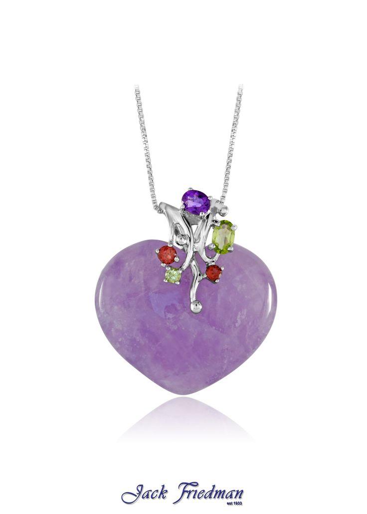 Amethyst and gemstone pendant set in silver jackfriedman.co.za