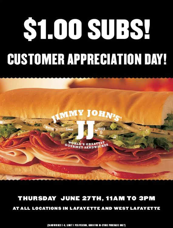 Jimmy John's: $1.00 Subs Today!  Select Locations