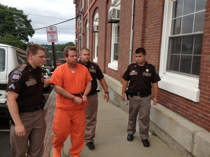 Sheriff's deputies lead Todd Gilday into Waldo County Superior Court in Belfast on Aug. 29. Gilday was indicted Thursday on a murder charge ...