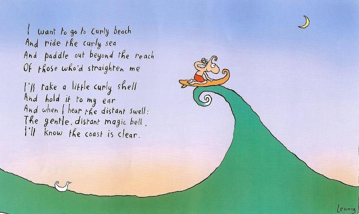Curly beach - Michael Leunig cartoon