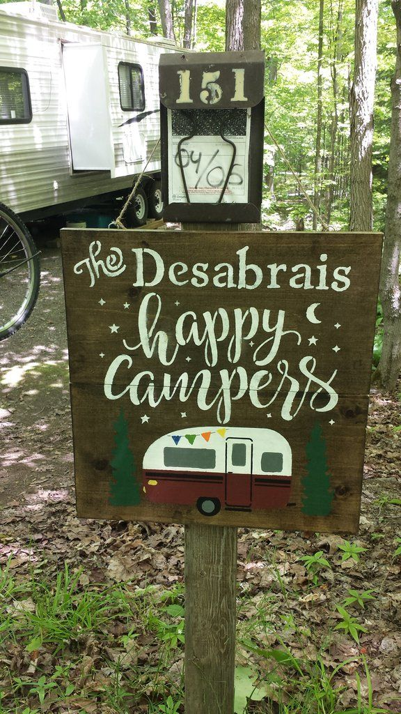 HAPPY CAMPERS/ FATHERS DAY SIGN/GIFT FOR DAD/PERSONALIZED TRAILER SIGN/COTTAGE/CAMPING SIGN/OUTDOOR SIGN/COTTAGE NAME SIGN/CAMPING FAMILY NAME SIGN/CAMPING SIGNS THE SIGN LISTED HERE IS FOR AN OUTDOOR  PERSONALIZED HAPPY CAMPERS NAME SIGN.PLEASE LEAVE THE NAME YOU WOULD LIKE ON YOUR SIGN IN THE MESSAGE SECTION WHEN PURCHASING. SIGN WILL BE SEALED WITH OUTDOOR SEALANT. IF YOU PREFER THE SIGN FOR INDOORS PLEASE LEAVE ME INSTRUCTIONS TO SEAL THE ...
