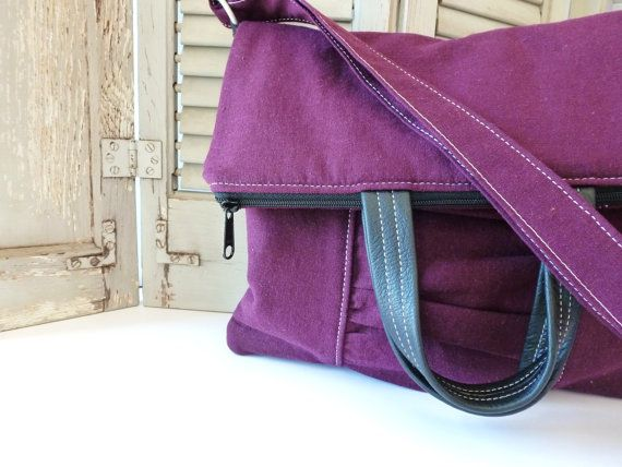 Purple Purse  Convertable Tote with CrossBody by gatheredandsown, $70.00