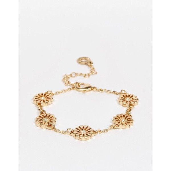 Pilgrim Daisy Bracelet (€25) ❤ liked on Polyvore featuring jewelry, bracelets, chains jewelry, pilgrim jewelry, adjustable bangle, pilgrim jewellery and daisy jewelry