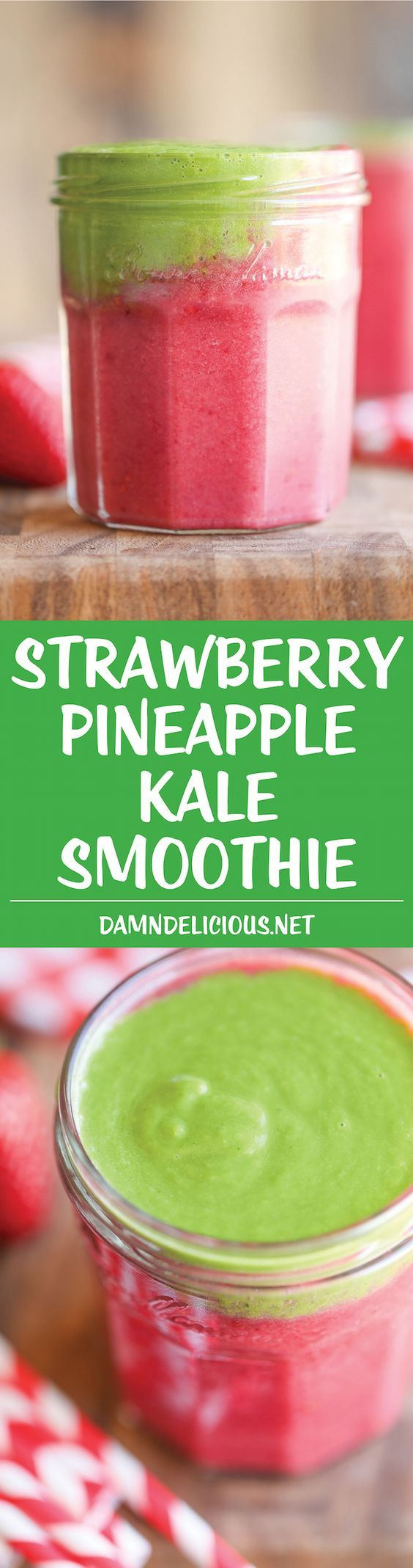 Strawberry Pineapple Kale Smoothie - A power-packed nutritious smoothie that doesn't even taste healthy! An absolute must for your mornings!