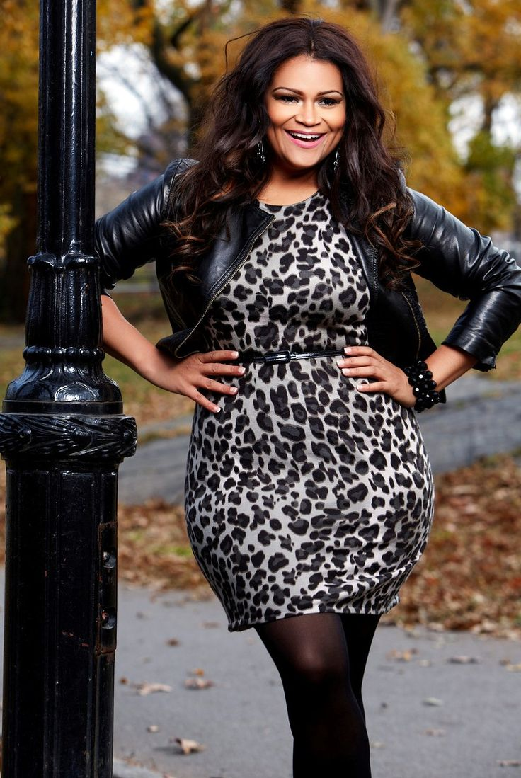 Curvy fashion: leopard dress in black and white with leather jacket. #plus size