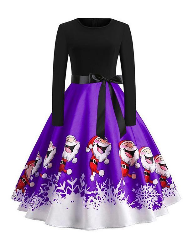 5190da4b5ce Laceshe Women s Big Swing Christmas Santa Print Vintage Dress ...