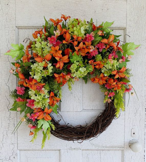 Large Orange Lily Wreath Hydrangea Wreath Summer By WaysideFlorals
