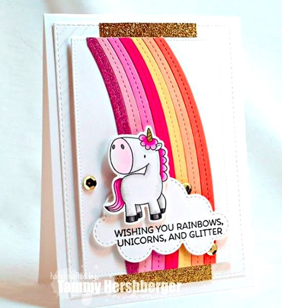 Birdie Brown Magical Unicorns stamp set and Die-namics and End of the Rainbow Die-namics - Tammy Hershberger #mftstamps