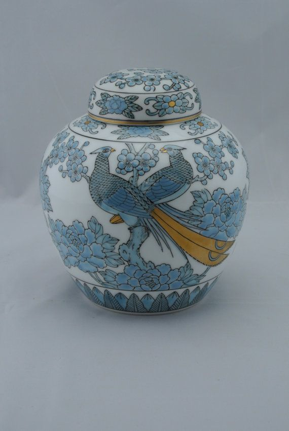 Gold Imari Japanese Ginger Jar Blue Peacocks by TheSilverTuna, $35.00