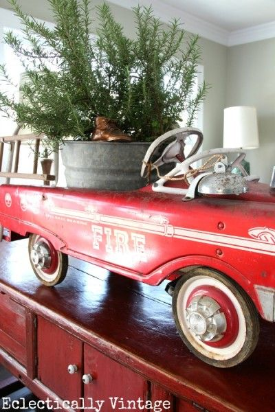 Vintage fire truck pedal car christmas decoration how