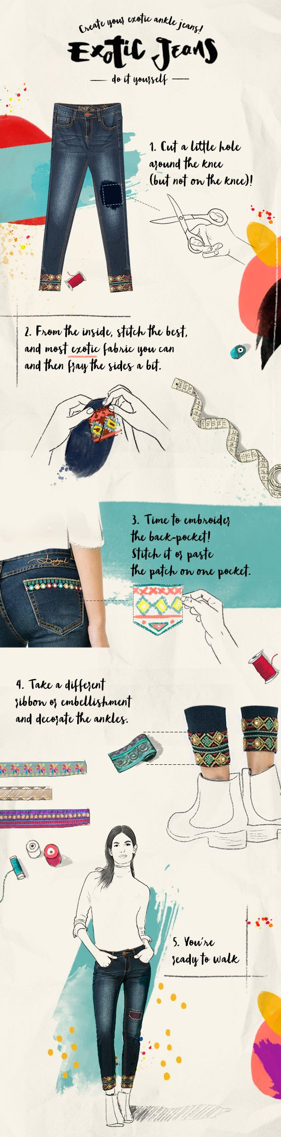 Tips for creating jeans to suit your style Made with love. This is how the new Exotic Jeans collection is created. The story of these jeans started in an I