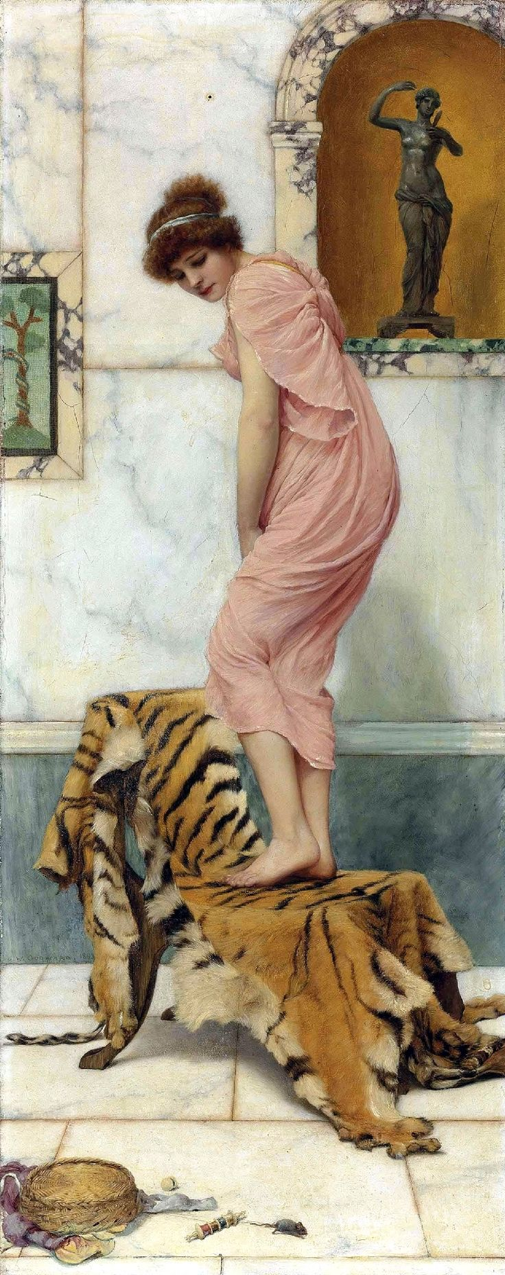 A mouse in the work basket by John William Godward 1893