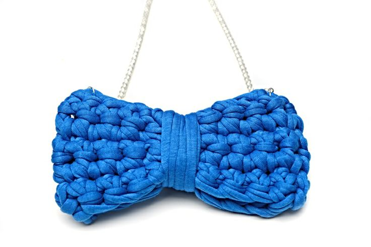 Maccheron Crochet Bow Necklace (blue) - Designed and handmade with ♥ ...in Budapest ...by me :-) Like my page on FB: www.facebook.com/Maccheron