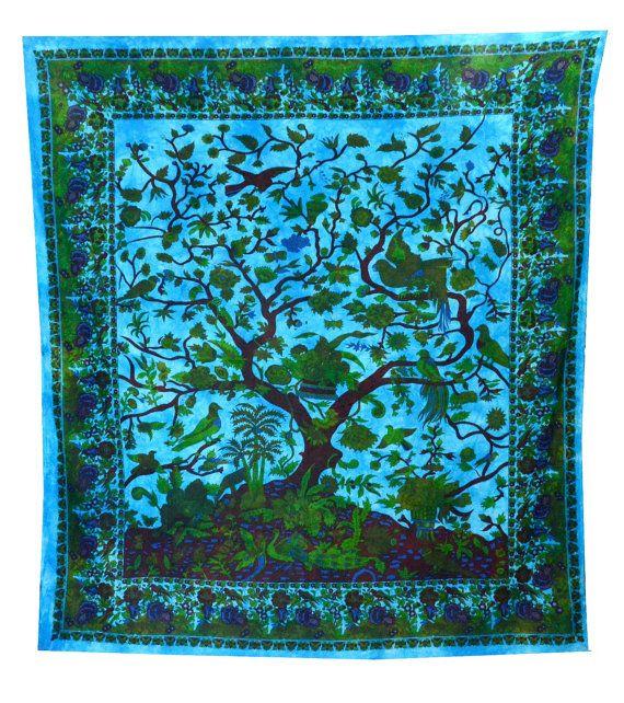 Arbre de vie tapisserie art mural dessus de lit par JaipurHandloom, $22.99