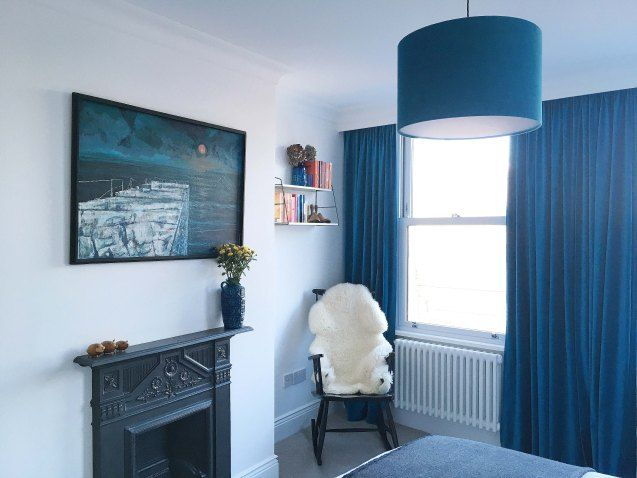 The House at The Junction | Ikea Sanela curtains, handmade lampshade and midcentury furniture and artwork