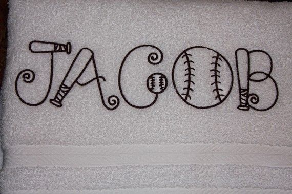 Baseball themed Monogrammed towel by KMcKenzieDesigns on Etsy, $11.00