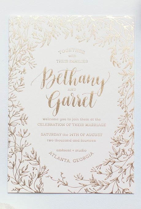 A gold invitation by @ashleybmchugh is perfect for an elegant garden wedding | Brides.com