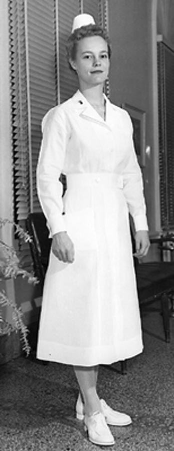 """World War II US Army Nurse Corps duty uniform. In """"A Memory Between Us,"""" Lt. Ruth Doherty wears this uniform on the wards."""