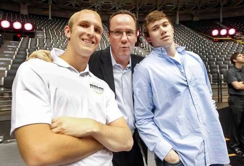 Wichita State coach Gregg Marshall poses with local players Conner Frankamp and Evan Wessel at the WSU basketball awards celebration at Koch Arena Thursday.(April 16, 2015)