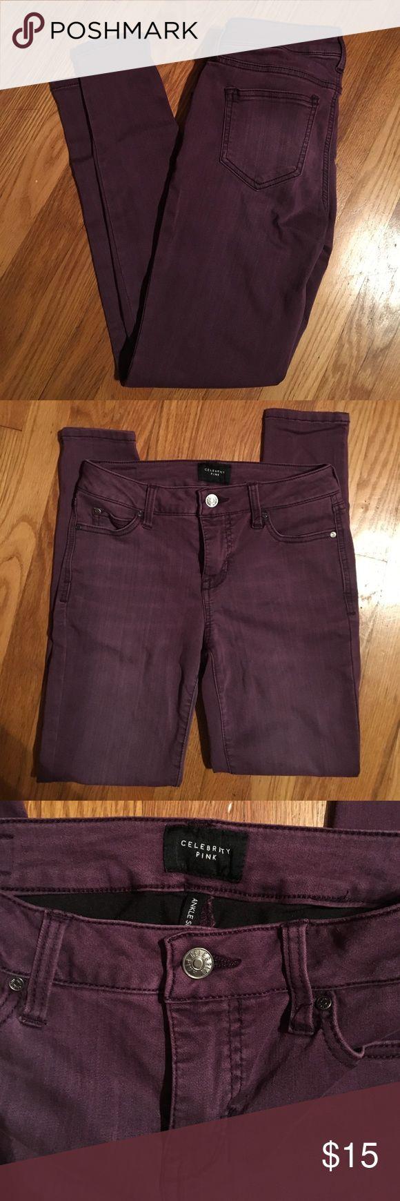 Purple skinny jeans Stretchy purple skinny jeans. Worn once. Celebrity Pink Jeans Skinny