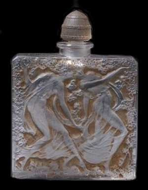 Typical figures of the style. Art of Rene Lalique French Designer Perfume Bottles