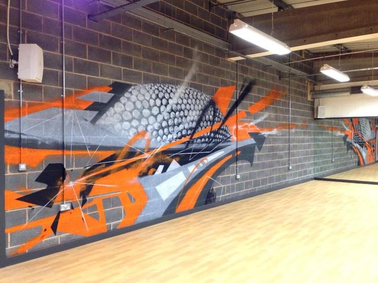 Easygym birmingham Graffiti mural - hand painted abstract graffiti design  #graffitidesign #interior design #