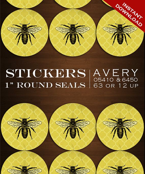 """Vintage Bee Stickers - 1"""" Round Apiary Label Sticker Envelope Seals - Honey Bee Avery 05410 6450 Labels Stickers Bottlecaps Invitation Seal"""