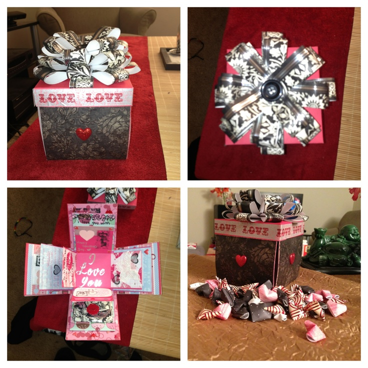Diy Valentine S Exploding Box 12x12 In Card Stock Draw A
