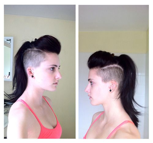 Long hair, both sides shaved. My next hair adventure once my mohawk grows.