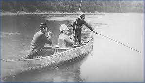 A sportsman and two Mi'kmaq guides on the Restigouche River the British, Canadian and, especially, the American sportsmen were generally welcomed to the rivers of New Brunswick by the government and the local population. They brought money and employment to regions of the province sorely in need of both and were willing to pay top dollar for grants of land with fishing rights.