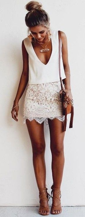 #summer #fashion / lace skirt + deep v-neck