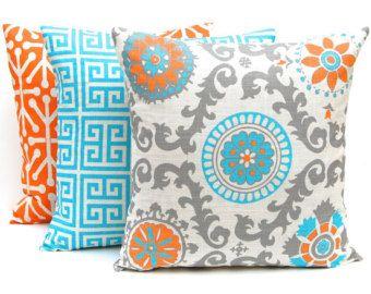 Cuscini decorativi, turchese e arancione federe, Set di tre 18 x 18, federe turchese, arancioni cuscini, cuscini divano
