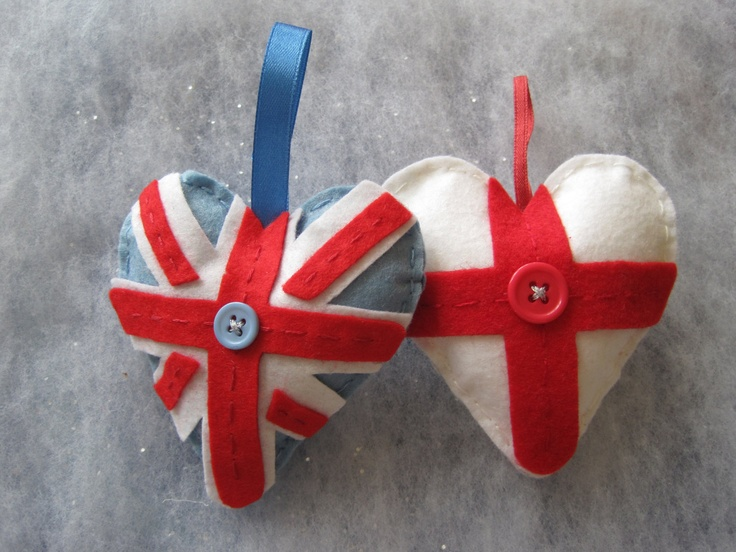 Union Jack or England flag Jubilee small heart hanging decoration made of felt with button and ribbon detail $6