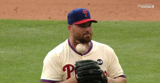 VIDEO: Phillies catcher accidentally pegs pitcher in throat; watch it in slow motion http://deadsp.in/WPd07Z5